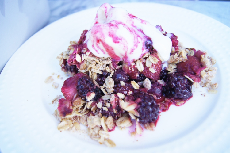 berry crisp dessert with frozen yogurt ice cream