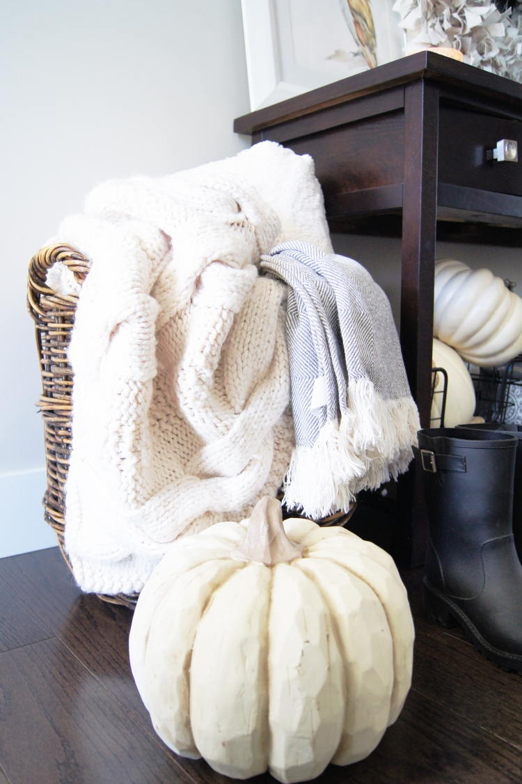 Basket of Cozy Blankets Fall Foyer Decor