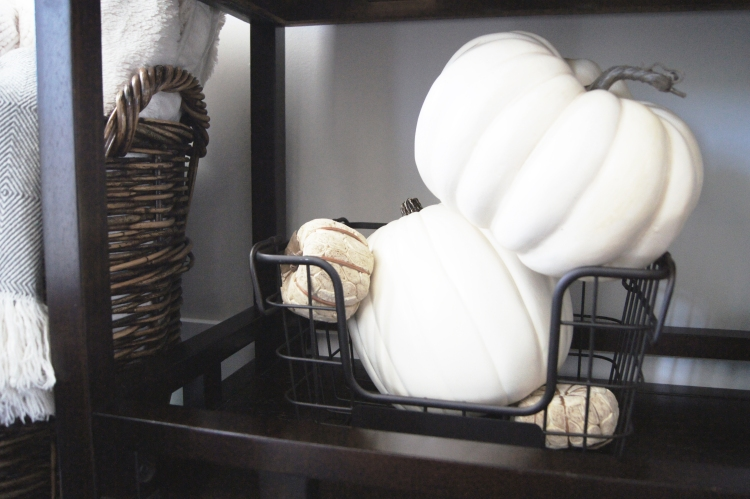 Neutral Fall Decor Pumpkins In Basket