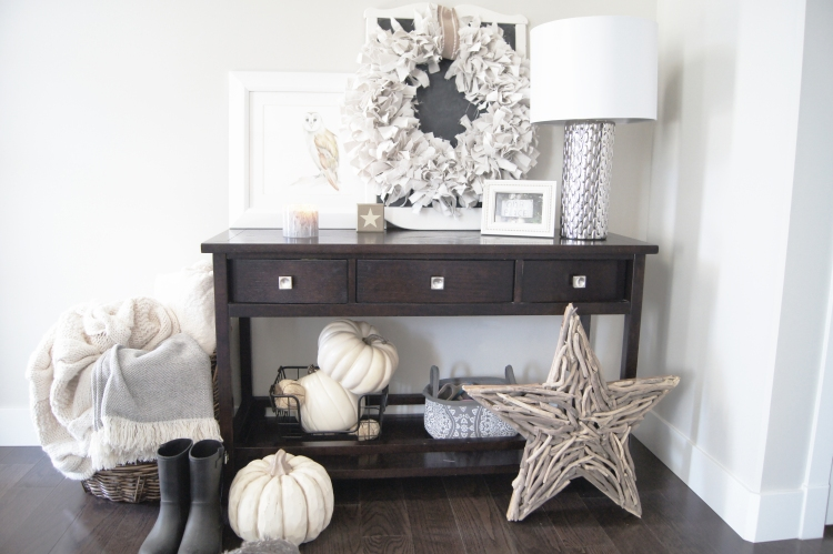 Neutral Fall Foyer Decor - White Pumpkins