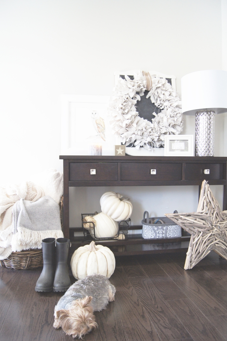 Neutral Fall Decor with cute puppy!
