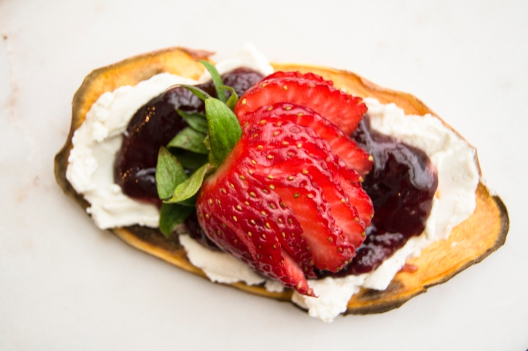sweet potato toast with cream cheese, jam, and strawberry toppings